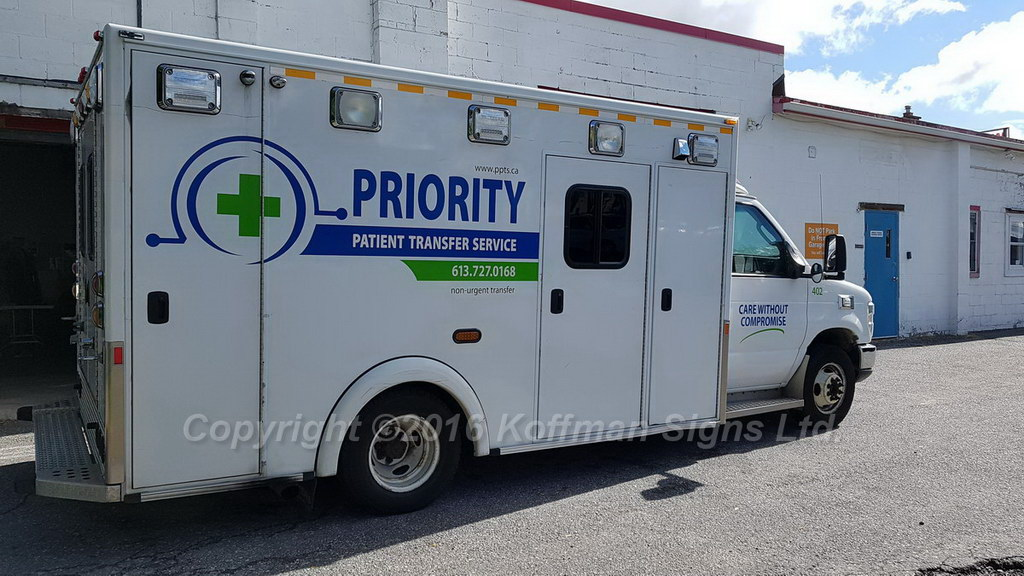 Priority Patient Transfer Service - Vinyl Logo and Lettering